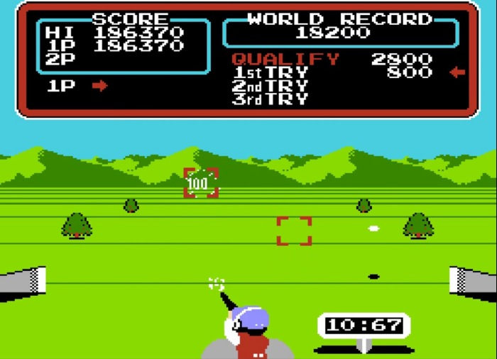 The NES version of Track & Field has three events from Hyper Sports, including this one.